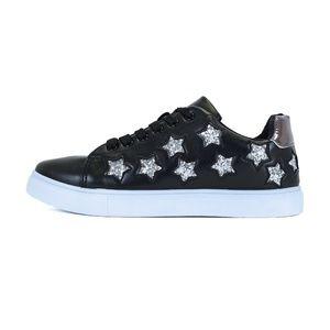 Black Glitter Star Platform Walking Sneaker Marlow